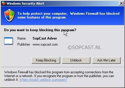 Sopcast - Adver Windows Firewall