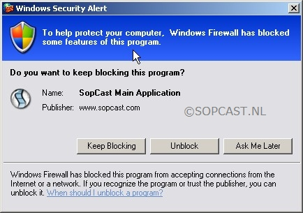 Sopcast Windows Firewall
